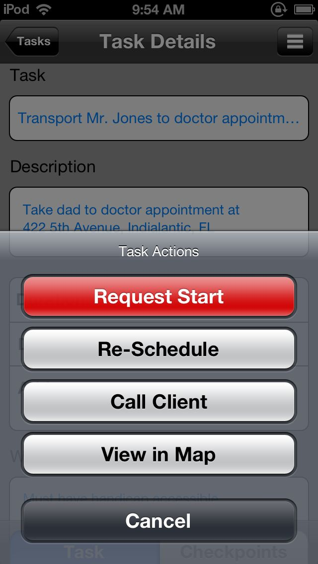 screen shot of Task Assure start task dialogue