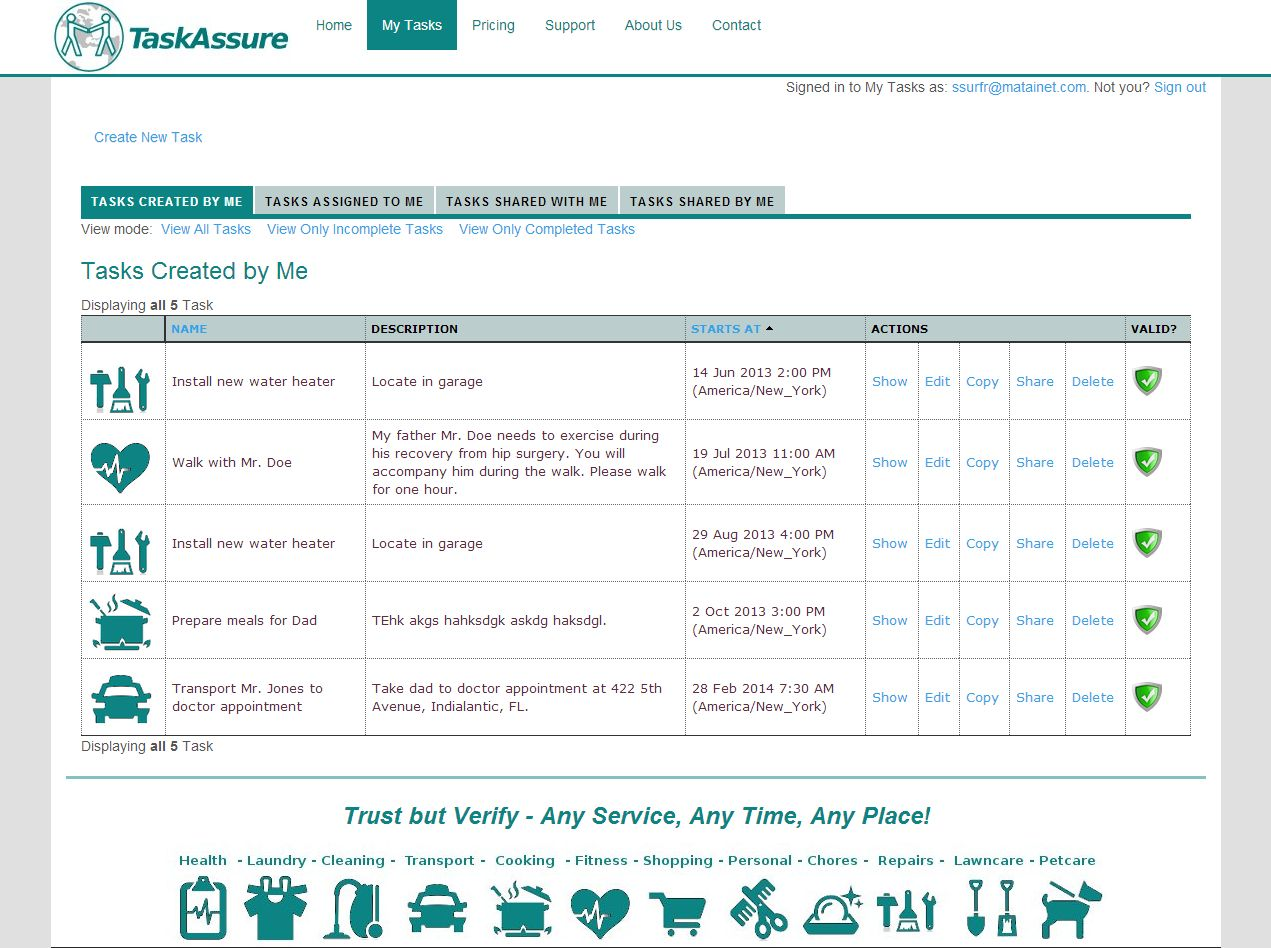 screen shot of Task Assure list tasks