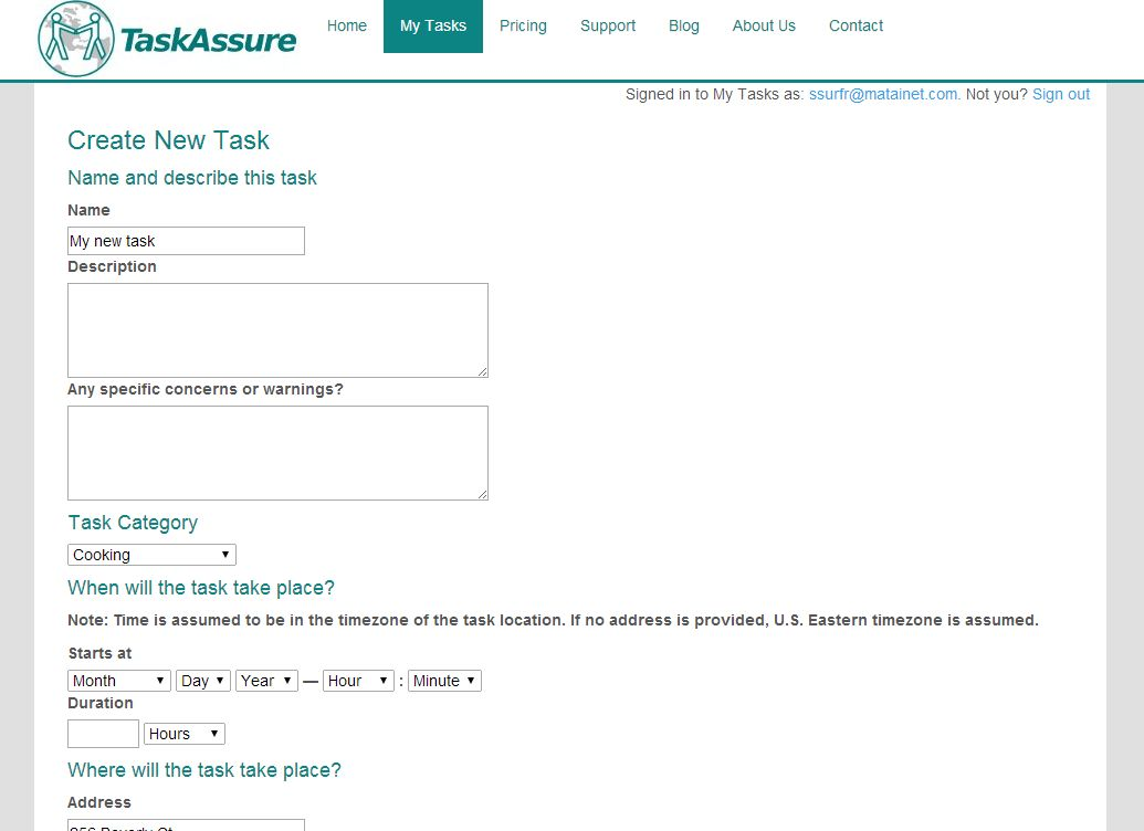 screen shot of Task Assure create new task