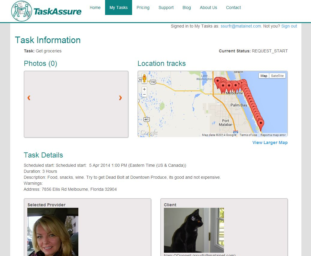 screen shot of Task Assure task details